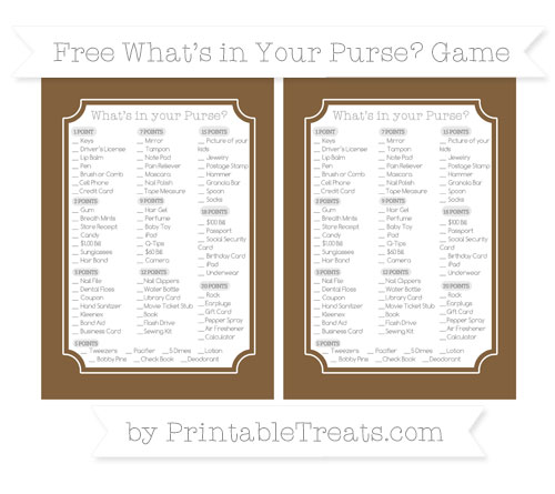 Free Coyote Brown What's in Your Purse Baby Shower Game
