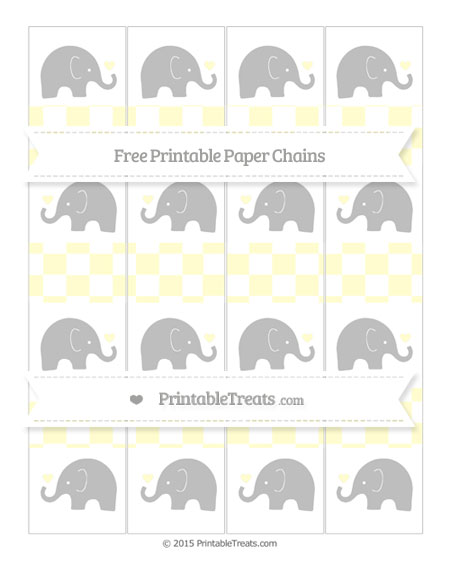 Free Cream Checker Pattern Baby Elephant Paper Chains