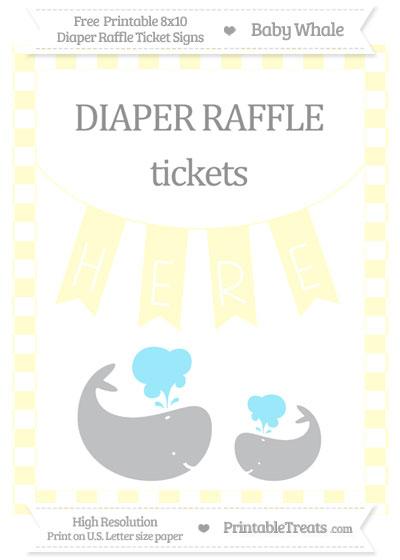Free Cream Checker Pattern Baby Whale 8x10 Diaper Raffle Ticket Sign