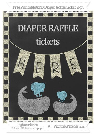 Free Cream Checker Pattern Chalk Style Baby Whale 8x10 Diaper Raffle Ticket Sign