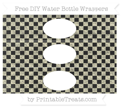 Free Cream Checker Pattern Chalk Style DIY Water Bottle Wrappers