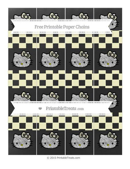 Free Cream Checker Pattern Chalk Style Hello Kitty Paper Chains