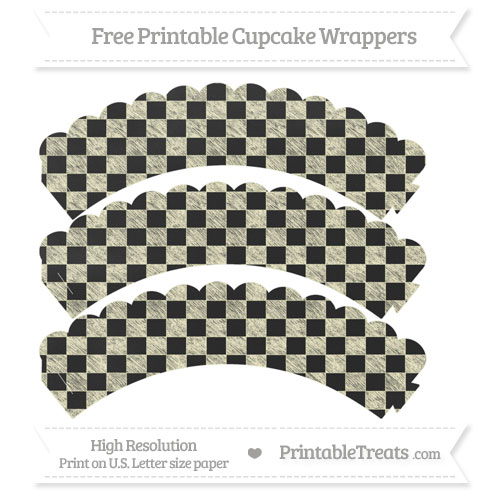 Free Cream Checker Pattern Chalk Style Scalloped Cupcake Wrappers