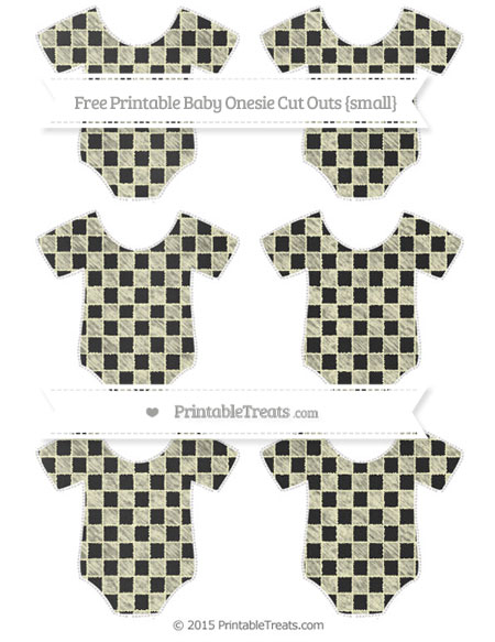 Free Cream Checker Pattern Chalk Style Small Baby Onesie Cut Outs
