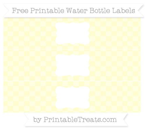 Free Cream Checker Pattern Water Bottle Labels