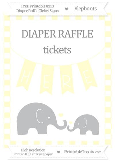 Free Cream Checker Pattern Elephant 8x10 Diaper Raffle Ticket Sign