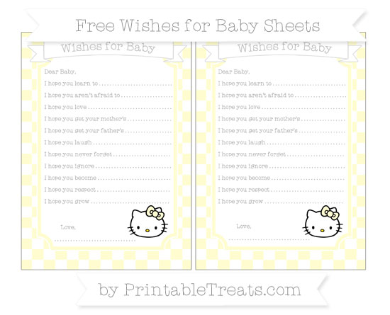 Free Cream Checker Pattern Hello Kitty Wishes for Baby Sheets