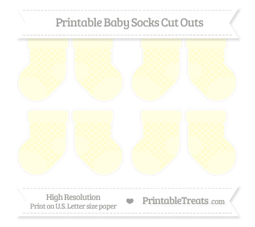 Free Cream Checker Pattern Small Baby Socks Cut Outs