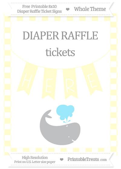 Free Cream Checker Pattern Whale 8x10 Diaper Raffle Ticket Sign