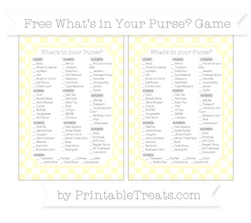 Free Cream Checker Pattern What's in Your Purse Baby Shower Game