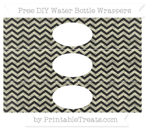 Free Cream Chevron Chalk Style DIY Water Bottle Wrappers