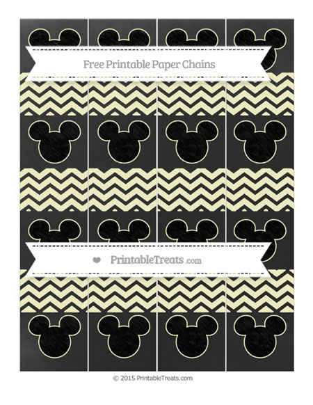 Free Cream Chevron Chalk Style Mickey Mouse Paper Chains