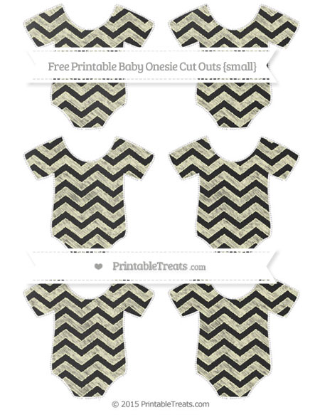 Free Cream Chevron Chalk Style Small Baby Onesie Cut Outs
