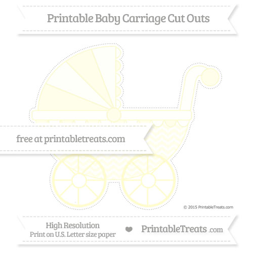 Free Cream Chevron Extra Large Baby Carriage Cut Outs