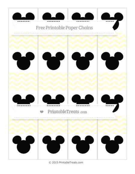 Free Cream Chevron Mickey Mouse Paper Chains