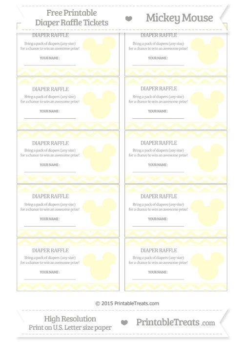 Free Cream Chevron Mickey Mouse Theme Diaper Raffle Tickets