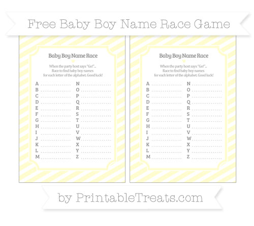 Free Cream Diagonal Striped Baby Boy Name Race Game
