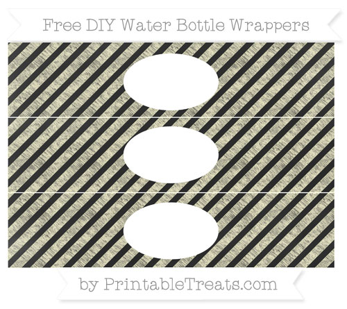 Free Cream Diagonal Striped Chalk Style DIY Water Bottle Wrappers