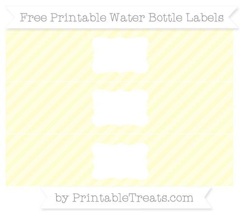 Free Cream Diagonal Striped Water Bottle Labels