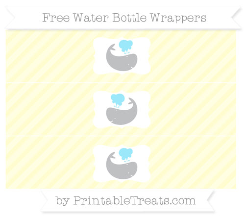 Free Cream Diagonal Striped Whale Water Bottle Wrappers