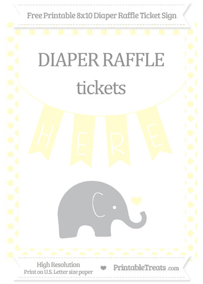 Free Cream Dotted Baby Elephant 8x10 Diaper Raffle Ticket Sign