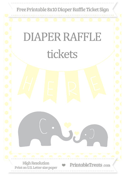 Free Cream Dotted Elephant 8x10 Diaper Raffle Ticket Sign