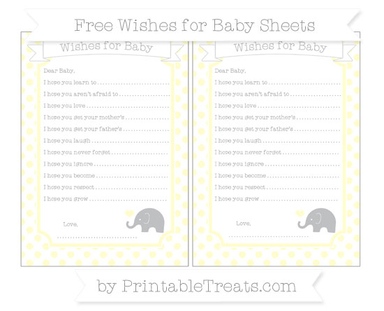 Free Cream Dotted Pattern Baby Elephant Wishes for Baby Sheets
