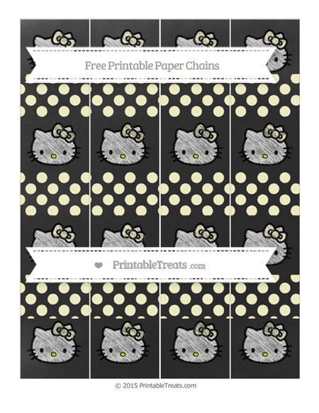 Free Cream Dotted Pattern Chalk Style Hello Kitty Paper Chains