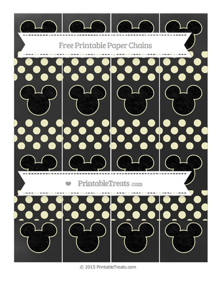 Free Cream Dotted Pattern Chalk Style Mickey Mouse Paper Chains