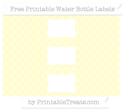 Free Cream Dotted Pattern Water Bottle Labels