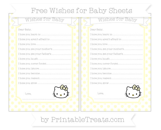 Free Cream Dotted Pattern Hello Kitty Wishes for Baby Sheets