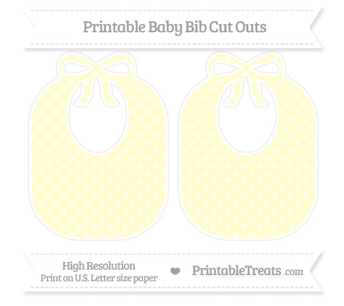 Free Cream Dotted Pattern Large Baby Bib Cut Outs