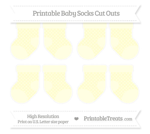 Free Cream Dotted Pattern Small Baby Socks Cut Outs