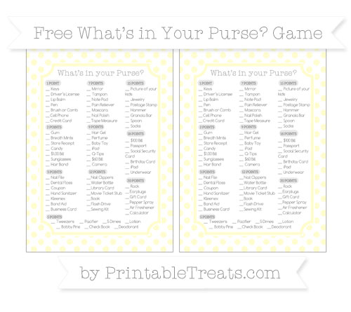Free Cream Dotted Pattern What's in Your Purse Baby Shower Game