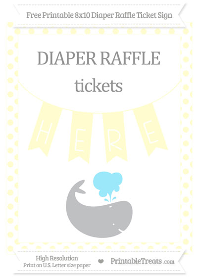 Free Cream Dotted Whale 8x10 Diaper Raffle Ticket Sign