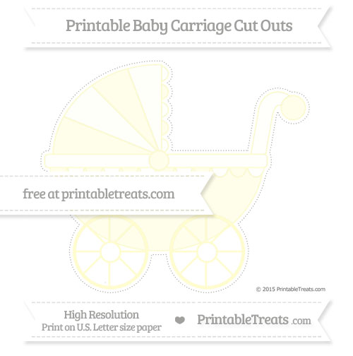Free Cream Extra Large Baby Carriage Cut Outs