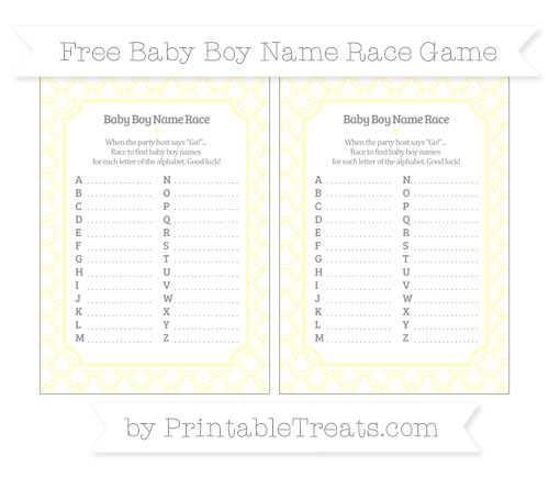 Free Cream Fish Scale Pattern Baby Boy Name Race Game