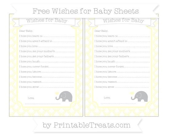 Free Cream Fish Scale Pattern Baby Elephant Wishes for Baby Sheets