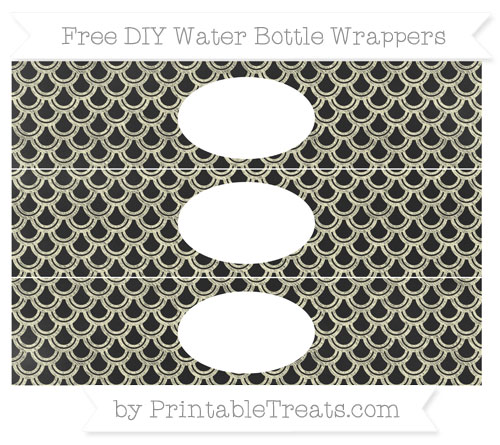 Free Cream Fish Scale Pattern Chalk Style DIY Water Bottle Wrappers