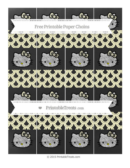 Free Cream Fish Scale Pattern Chalk Style Hello Kitty Paper Chains