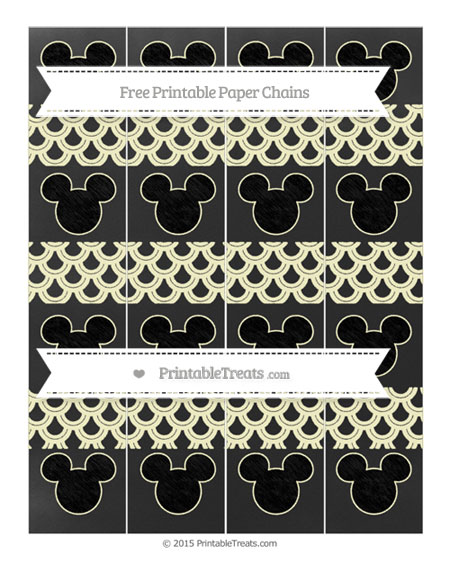 Free Cream Fish Scale Pattern Chalk Style Mickey Mouse Paper Chains