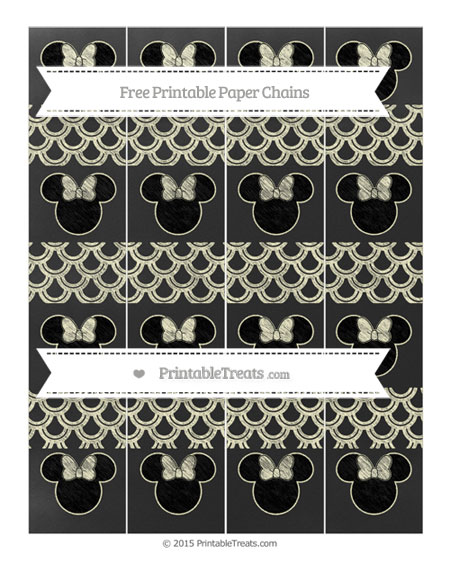 Free Cream Fish Scale Pattern Chalk Style Minnie Mouse Paper Chains
