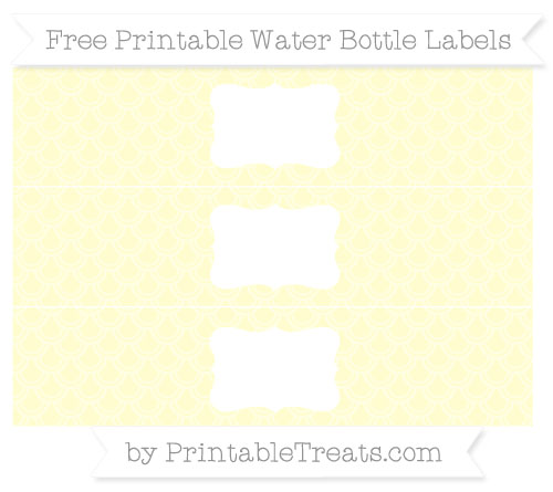 Free Cream Fish Scale Pattern Water Bottle Labels