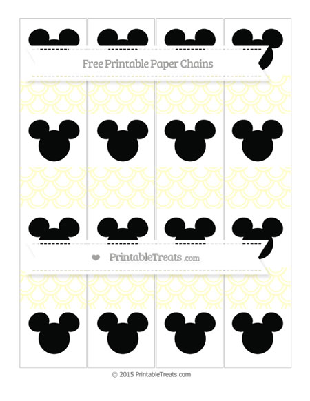Free Cream Fish Scale Pattern Mickey Mouse Paper Chains