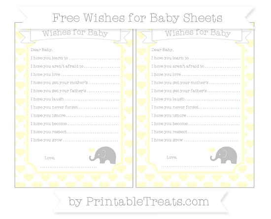 Free Cream Heart Pattern Baby Elephant Wishes for Baby Sheets