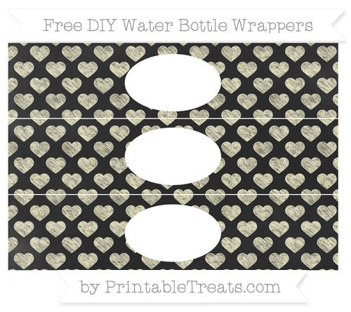 Free Cream Heart Pattern Chalk Style DIY Water Bottle Wrappers
