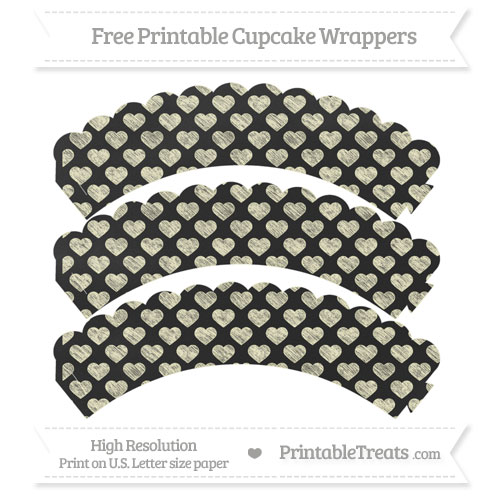 Free Cream Heart Pattern Chalk Style Scalloped Cupcake Wrappers