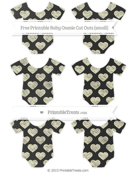 Free Cream Heart Pattern Chalk Style Small Baby Onesie Cut Outs