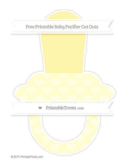 Free Cream Heart Pattern Extra Large Baby Pacifier Cut Outs