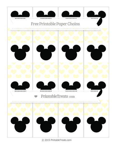 Free Cream Heart Pattern Mickey Mouse Paper Chains